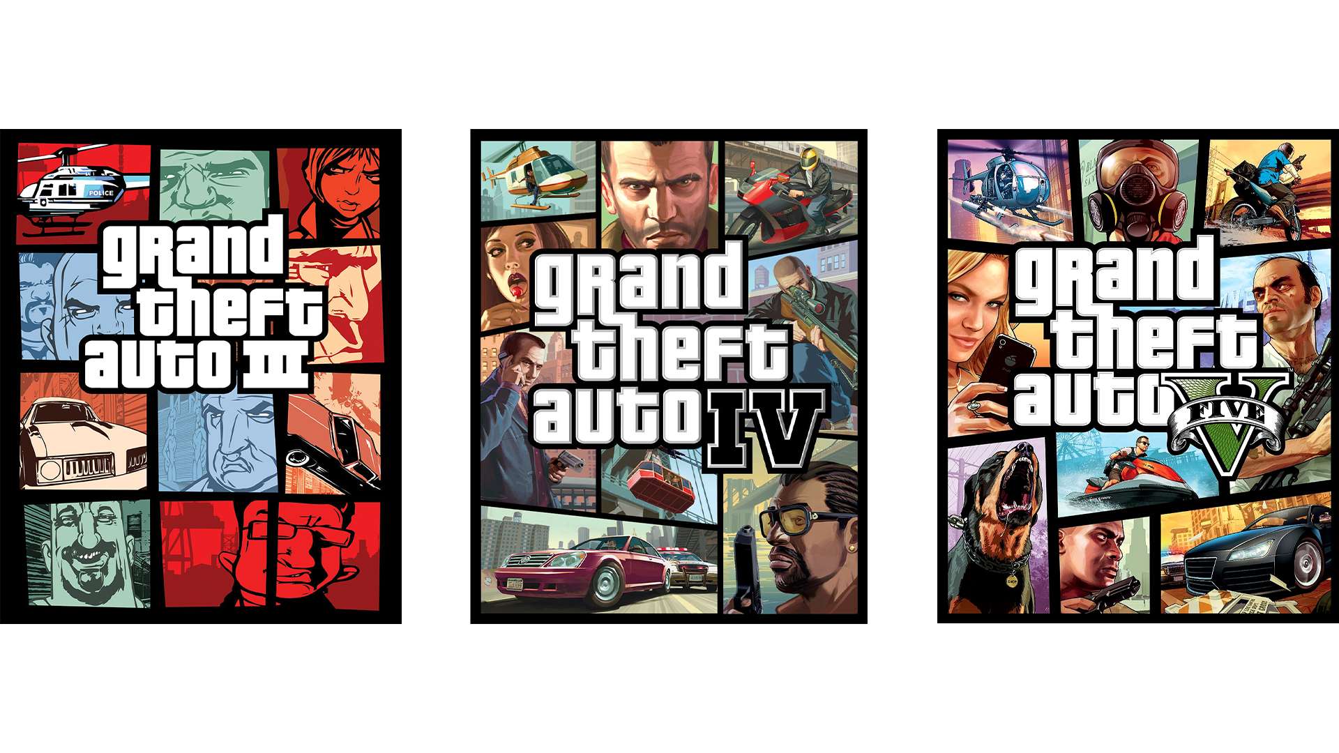 GTA 3  GTA 4 GTA V covers
